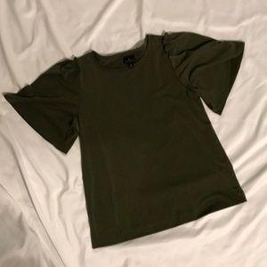 Dark Green wide sleeved top